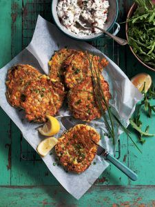Sweetcorn Courgette and tofu fritters with chive yoghurt