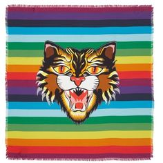 Women's Gucci Crazy Tiger Square Silk Scarf (30,775 INR) ❤ liked on Polyvore featuring accessories, scarves, multicolor, colorful scarves, pure silk scarves, silk shawl, silk scarves and gucci