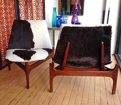 Pair of Sculptural Low Lounge Slipper Chairs With Cowhide Upholstery