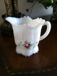 Victorian Milk Glass Creamer Dithridge Versailles by FrannieBee