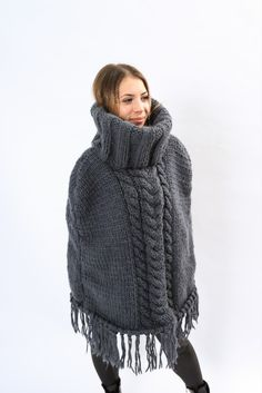 Dress Poncho ,Super bulky Poncho Cable Sweater, Poncho Sweater, Wool Sweaters, Grey Poncho, Wool Yarn, Turtle Neck, Model, Shopping, Dresses