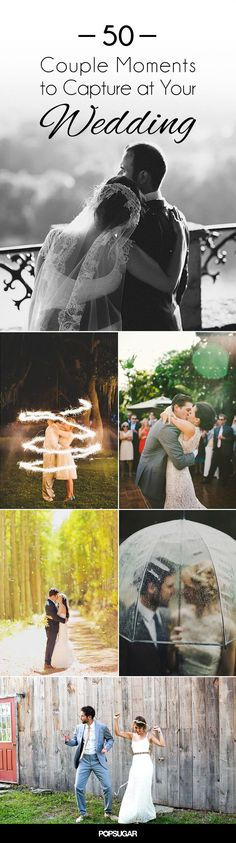 When it comes to your wedding day photo checklist, it doesn't get much more important than the photos you take with your spouse-to-be. We've scoured Pinterest, the Internet, and our own featured weddings to find the most romantic, creative, and inspiring couple photos out there. There are cute poses you can replicate and enough spontaneous kisses to have you melting into a puddle of awww. If you're tying the knot, get ready to take notes. And be sure to check out our POPSUGAR Wedding Guide…