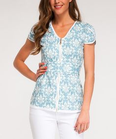 Look at this Almatrichi Blue Arabesque Zip-Up Top on today! Arabesque, Zip Ups, Cool Outfits, That Look, Tunic Tops, Plaid, V Neck, Boutique, My Style
