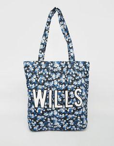 Tasche von Jack Wills Baumwollleinen durchgehendes Muster mit zwei Tragegriffen Markendruck vorne offenes Oberteil Abwischen 100% Baumwolle H: 38 cm/15 Zoll, B: 32 cm/13 Zoll, T: 9,5 cm/3,5 Zoll