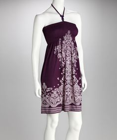 Take a look at this Purple Mehndi Halter Dress on zulily today!