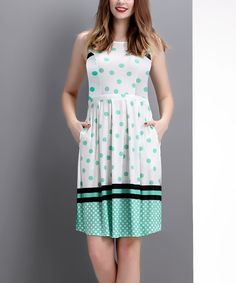 Look at this Mint Polka Dot Sleeveless Fit & Flare Dress on #zulily today!