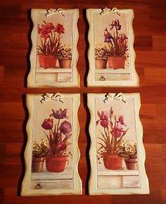 set 4 quadri in legno 46x26 arte povera natura fiori c'era una volta decoupage