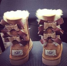 Bedazzled Bailey Bow UGGS Chestnut