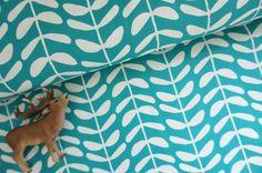 Bio-Stoffe - Bio Baumwolle Canvas, Vines Teal - ein Designerstück von…