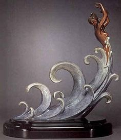 "Erte (Romain de Tirtoff) ""Wave Bronze Sculpture""1988"