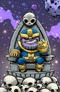 Thanos by Skottie Young Chibi, Marvel Artwork, Marvel Kids, Wallpaper, Marvel Cartoons, Art, Chibi Characters, Marvel Drawings, Comics