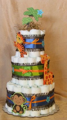 3 Tier Diaper Cake Fisher Price Rainforest Safari Baby Shower Centerpiece NOJO