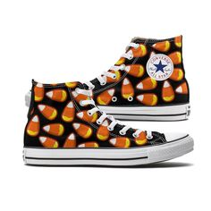 Candy Corn Converse Black High Top chucks are here and made to order especially for you. These Chucks feature a Candy Corn pattern over both panels of the shoe. Each pair is custom-made so color and p