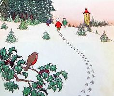 Alfred Bestall's drawing of Rupert Bear in the snow Christmas Story Books, Christmas Past, Christmas Themes, Vintage Christmas, Christmas Presents, Christmas Cards, Advent Images, Fantasy Town, Children's Book Illustration