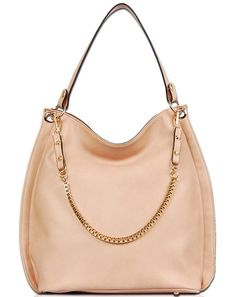 Rose Gold Faux Leather Purse - This pretty rose colored purse has a  decorative gold chain. Zipper top opens to a large pocket c3511426ff4b7