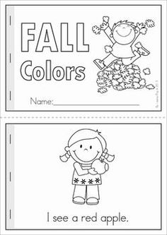 "Autumn / Fall Literacy Worksheets and Activities for Kindergarten. 52 pages. A page from the unit: ""Fall Colors"" reader (black and white & color) with comprehension page"