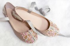 DIY Crystal Embellished Ballet Flats Tutorial from M&J here.TIP: I've posted other ballet flat DIYs and some people used Capezio ballet shoes. Of course genuine ballet shoes do not hold up well outside - go here for a selection (no affiliate link).