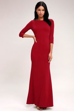 Kymber Wine Red Backless Maxi Dress 2