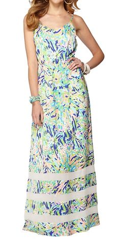 Lilly Pulitzer Deanna Spaghetti Strap Maxi Dress in Sea Soiree