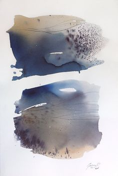 Large Watercolor Original Art Abstract Landscape by MadlenDesign