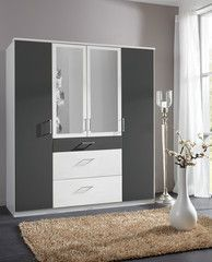 German Made Black and White 2 3 4 Door Wardrobes with Mirror Door and Drawers