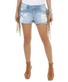 Short Jeans com Franjas em Suede Azul Claro