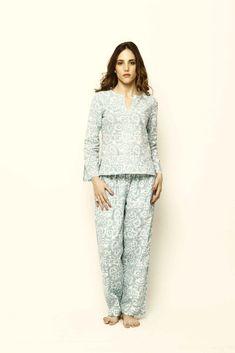 Lavanya Coodly - Mirabella - Womens Super Soft Cotton Hand Printed Pajama Set Luxury Clothing Brands, Pajama Bottoms, Pajama Pants, Cotton Pyjamas, Sleepwear Women, Women's Sleepwear, Winter Looks, Wide Leg Pants, Pajama Set