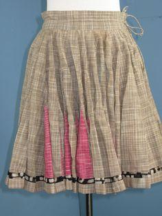 Flirty Linen Full Circle Skater Skirt S