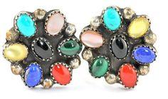 Navajo Sterling Silver Gemstone Cluster Rosette Clip-On Earrings