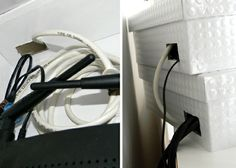 cool hide routers etc in decorative boxes and cut a place in back for cords