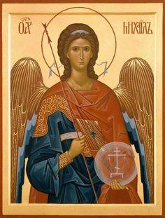 Archangel Michael-Hand Painted Eastern Orthodox Byzantine icon on wood Saint Michael Angel, St Michael, Archangel Gabriel, Archangel Michael, Religious Icons, Religious Art, Orthodox Catholic, Church Icon, Romulus And Remus