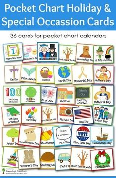 Add a little fun to your pocket chart calendar with these holiday and special occasion cards from homeschoolcreations.net