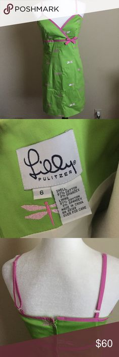 LILLY PULITZER Women's 6 Green Dragonfly Dress Great like new condition! Perfect for summer! Lilly Pulitzer Dresses Mini