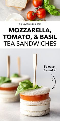 This recipe for Mozzarella, Tomato, and Basil Tea Sandwiches is the only thing missing from your tea time table! These finger-sized bites are great for serving for a mixed group of guests, from little kids to adults. These crustless treats are very easy to make too - learn how to make your own batch here. Sandwich Recipes, Snack Recipes, High Tea Sandwiches, Basil Tea, Hot Tea Recipes, Tea Time Snacks, How To Make Tea, Afternoon Tea, Mozzarella