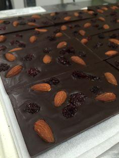 Super hero bar! 72% dark chocolate with whole almonds and cherries.