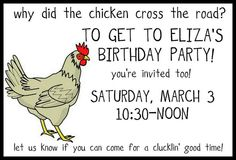 chicken party…a cluckin' good time – prairie daze Cute Birthday Ideas, 1st Boy Birthday, Boy Birthday Parties, Farm Animal Party, Farm Party, Childrens Party, Invitations, Invite, Chicken