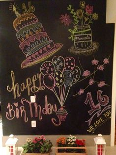Modern Birthday Chalk Art - Pinious [dot] com Chalkboard Numbers, Chalkboard Doodles, Chalkboard Art Quotes, Chalkboard Decor, Chalkboard Drawings, Chalkboard Lettering, Chalkboard Designs, Chalk Writing, Chalkboard Writing