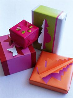 Make presents under the tree even more hard to resist with these fun three dimensional shapes. First, wrap your present in a bold colour. Before adding the second layer, trace Christmas shapes on the paper and cut out half the design with a scalpel. Wrap the present and fold back the cut out to reveal the contrasting wrap underneath