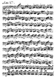 The first page from the manuscript by Anna Magdalena Bach of Suite No. 1 in G major, BWV 1007