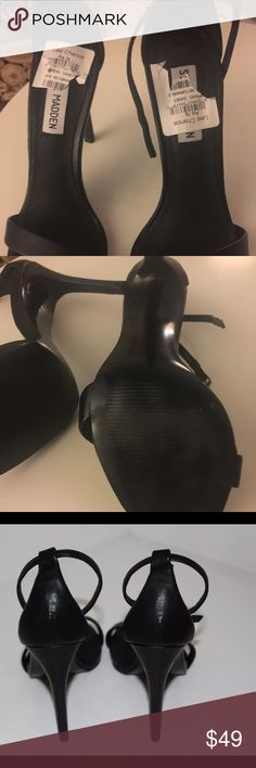 """Steve Madden """"Stecy"""" natural leather black 5.5 Returned items, only bottom soles have signs of wear Steve Madden Shoes Heels"""