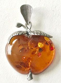 Vintage Sterling Silver 925 Signed SW Amber Apple Pendant | eBay