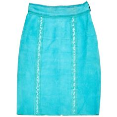 Pre-owned Burberry Prorsum Mid-Length Skirt ($214) ❤ liked on Polyvore featuring skirts, turquoise, women clothing skirts, burberry skirt, turquoise skirt, mid length skirts, blue skirt and burberry