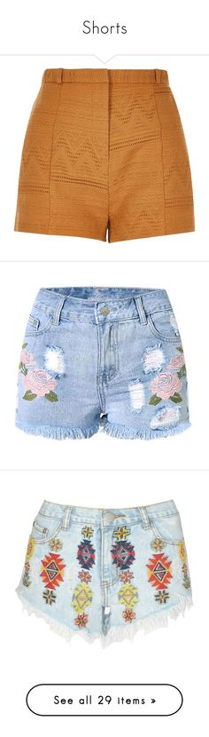 """""""Shorts"""" by ines-louu ❤ liked on Polyvore featuring shorts, bottoms, short, yellow, highwaist shorts, yellow high waisted shorts, river island, woven shorts, high-rise shorts and embellished shorts"""