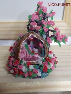 OOAK Dollhouse Miniature, Very small house in hazelnut ,Nico.Kunst  | eBay