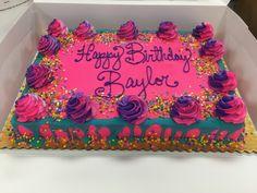 13th Birthday Cake For Girls, Neon Birthday Cakes, Birthday Sheet Cakes, Special Birthday Cakes, 5th Birthday, Birthday Shirts, Birthday Ideas, Birthday Parties, Teen Cakes