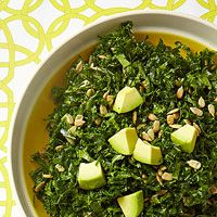 Almond-Avocado Kale Salad -- Tossing raw kale in healthy fats like avocados and almond butter softens it up without making it soggy. Quinoa Dishes, Healthy Side Dishes, Vegetable Sides, Vegetable Side Dishes, Vegetable Recipes, Vegetarian Recipes, Healthy Recipes, Healthy Sides, Healthy Fats