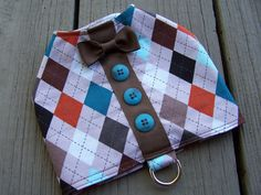 Dog Harness Vest Preppy Argyle with bow tie Size by Frillypaws