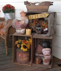 Use our autumn decorating ideas to create colorful and delightful displays on your front porch. Whether you replicate our ideas or modify them to fit your decorating style we know you will enjoy gathering unique and fun ideas for your porch and home. Country Decor, Rustic Decor, Farmhouse Decor, Country Farmhouse, Old Crates, Wooden Crates, Wooden Boxes, Wine Crates, Autumn Decorating