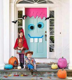 Google eye Halloween face on the front door