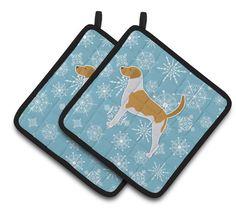 Winter Snowflake American Foxhound Pair of Pot Holders BB3498PTHD